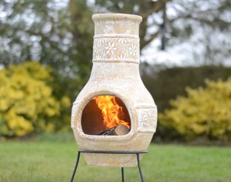 small chiminea and bbq grill