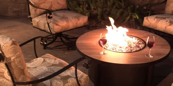 outdoor gas fire pit round