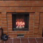 corner fake fireplace