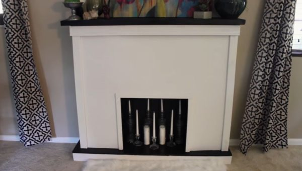 fake wood fireplace
