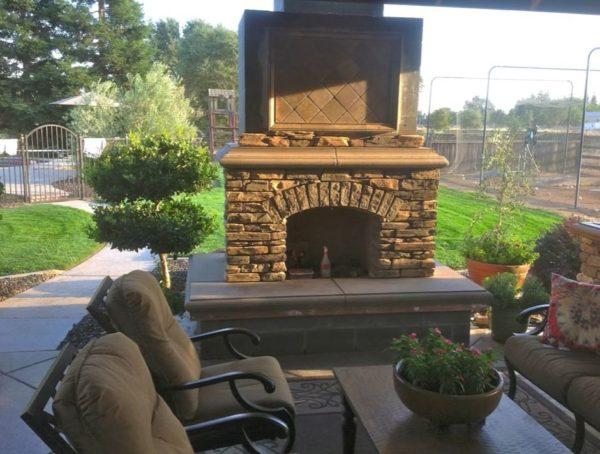 outdoor brick fireplace