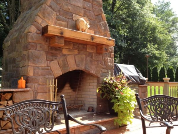 outside stone fireplace